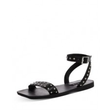 AQUA Women Women's Sophy Square Toe Studded Leather Sandals - 100% Exclusive Black Selling Well UOYL957