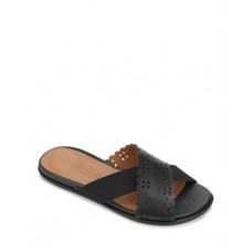 Gentle Souls by Kenneth Cole Women's Women's Lark Crossover Leather & Elastic Slide Sandals Black Smooth Leather Hot EUAA228