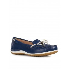 Women Flat Shoes - Geox Leather Loafer - Navy ZNCY961