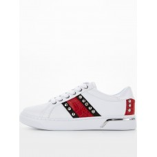 Women Flat Shoes - Guess Red Stripe Trainer - White /red BHEM681