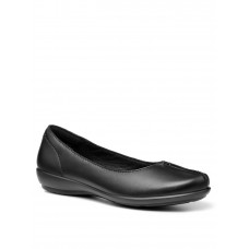 Women Flat Shoes - Hotter Hotter Robyn Wide Fit Shoes - Black ZGVS177