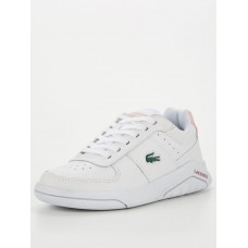 Women Flat Shoes - Lacoste Game Advance Leather Trainer - White Light Pink ZPMI637