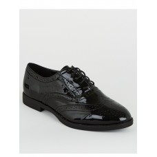 Women Flat Shoes - New Look Wide Fit Black Patent Lace Up Brogues IXIT394