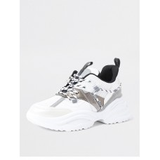 Women Flat Shoes - River Island Chunky Lace Up Trainer - White NPHK518