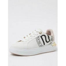 Women Flat Shoes - River Island Monogram Lace Up Trainer - White RWOU965
