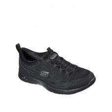 Women Flat Shoes - Skechers Arch Fit Refine Duraleather Overlay Mesh Bungee Slip-On Trainer -Black OFLB439