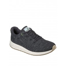 Women Flat Shoes - Skechers Bobs Earth Heather Engineered Knit Lace Up Trainer Charcoal MYNJ176
