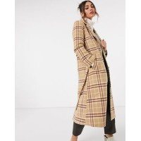 & Other Stories wool blend belted check coat in brown Women Coats New Style NCFL795