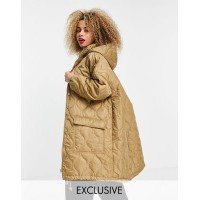 COLLUSION Unisex lightweight longline quilted jacket in beige Women Jackets quality XLNA477