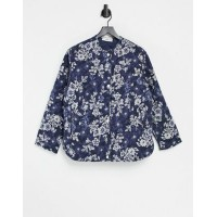 Mango quilted jacket in blue floral Women Jackets Best JHIC498