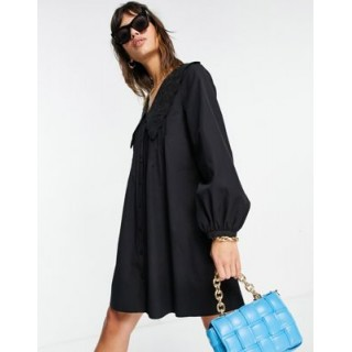 & Other Stories organic cotton long sleeve mini dress in black Women A Line Dresses The Most Popular QJYN636