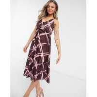 DESIGN cami plunge midi dress with blouson top in grid print Women A Line Dresses quality DURK169