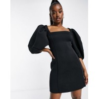 DESIGN Square neck puff sleeve mini aline dress in black Women A Line Dresses outfits TLXF206