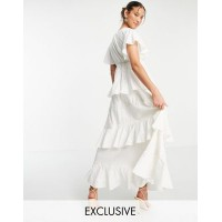 White Sand square neck lace insert tiered midi dress in cream Women A Line Dresses on style NWDF697