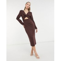 & Other Stories cut out knitted midi dress in brown Women Jumper Dress boutique NCAI666