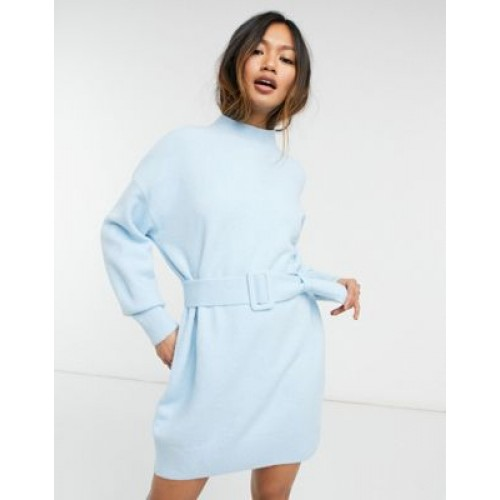 & Other Stories knitted belted mini dress in blue Women Jumper Dress comfortable CNTU446