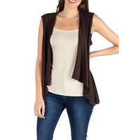 24seven Comfort Apparel Women Sweaters Brown shopping - Women's High Low Cardigan Vest AREV49203