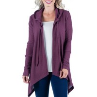 24seven Comfort Apparel Women Sweaters Dark Red The Top Selling - Women's Waffle Fabric Cardigan Hoodie ZOXR80791