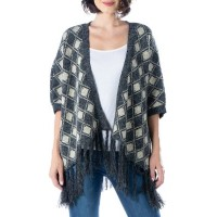 24seven Comfort Apparel Women Sweaters Multi lifestyle - Women's Plaid Fringe Open Front Poncho Sweater YIFM58478