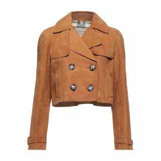 Women Leather Jackets new in boutique - Double breasted pea coat 100% Calfskin 38D9N9710
