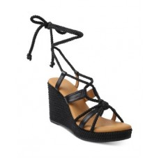 Andre Assous Women's Women's Ash Jute & Leather Strappy Espadrille Wedge Sandals Black 2021 RWMU266