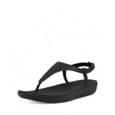 FitFlop Women's Women's Lainey Slingback Thong Wedge Sandals All Black new look MLGY534