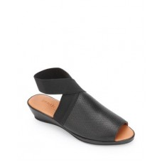Gentle Souls by Kenneth Cole Women Women's Lily Almond Toe Crossover Elastic Strap Wedge Sandals Black Leather New VIJP812