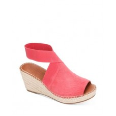 Gentle Souls by Kenneth Cole Women's Women's Charli Ankle Strap Espadrille Wedge Sandals Coral Suede Fit RAAP345