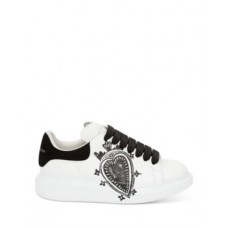 Alexander McQUEEN Women's Women's Leather Heart Logo Lace Up Sneakers White Black At Target DKTQ767
